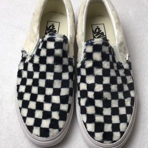Vans Classic Slip On Sherpa Checkerboard Shoes